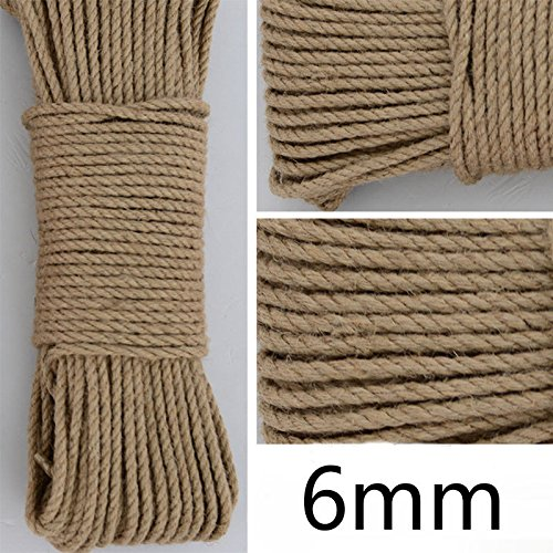 Craft Decor Hemp Rope Natural Brown Jute Twin String Ribbon For making necklaces picture hammock hanging lights plant Packing Garden Arts Wedding Gift Craft Cord DIY Decorate Handmade Accessory Thread ()