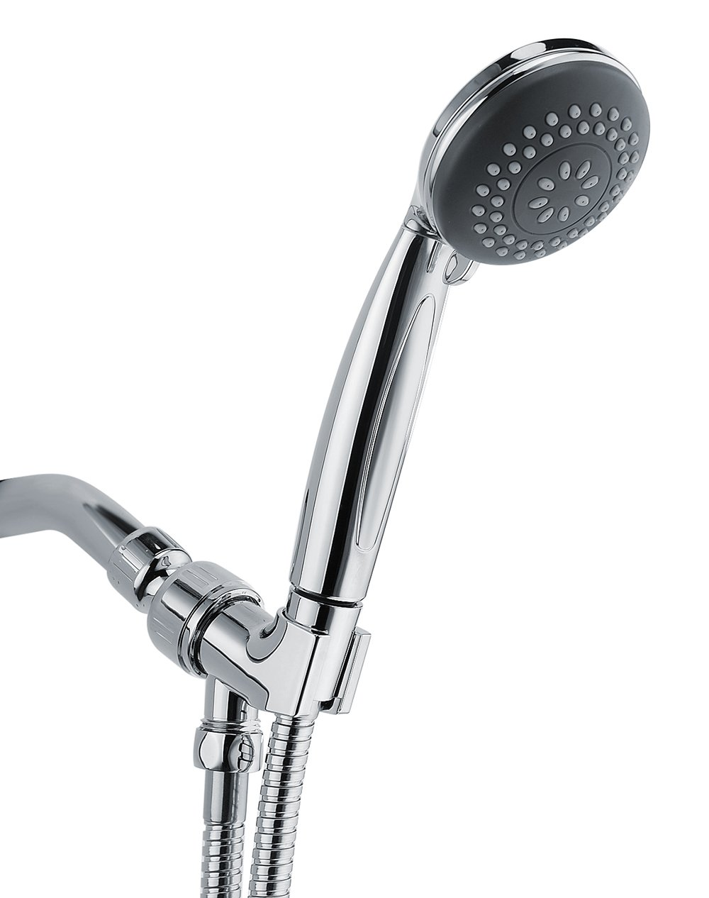 Wassern Handheld Shower Head, High Pressure Rainfull Massage Spa Flexible 60'' Stainless Steel Hose Angle Adjustable Bracket 4setting 3'' Chrome