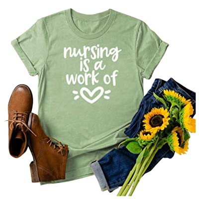 Winsummer Nursing is a Work of Heart T Shirt Womens Short Sleeve Nurse T-Shirt Summer Letter Print Graphic Tees Tops: Clothing