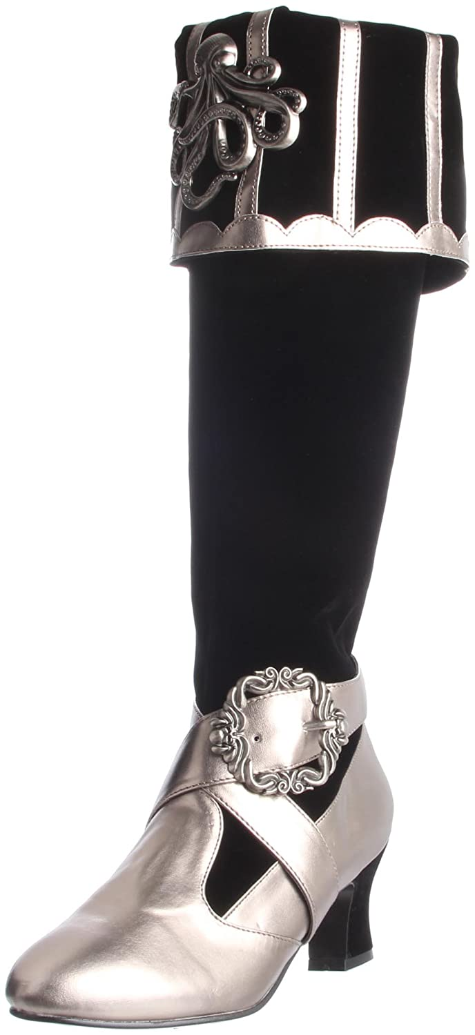 Women's Black & Pewter Cthulhu Fold-Over Cuff Knee-High Velvet Pirate Boot - DeluxeAdultCostumes.com