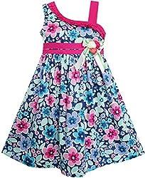 FP12 Sunny Fashion Girls Dress Multicolored Flower Bow Tie Asymmetric Design Size 5