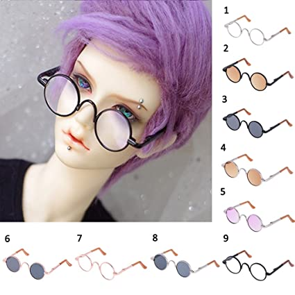 517450adbf Amazon.com  Jili Online 1 3 BJD Cute Retro Round Eye Glasses for SD17 Uncle  Dolls Dollfie LUTS AOD DOD Silver Frame Clear Lens  Toys   Games