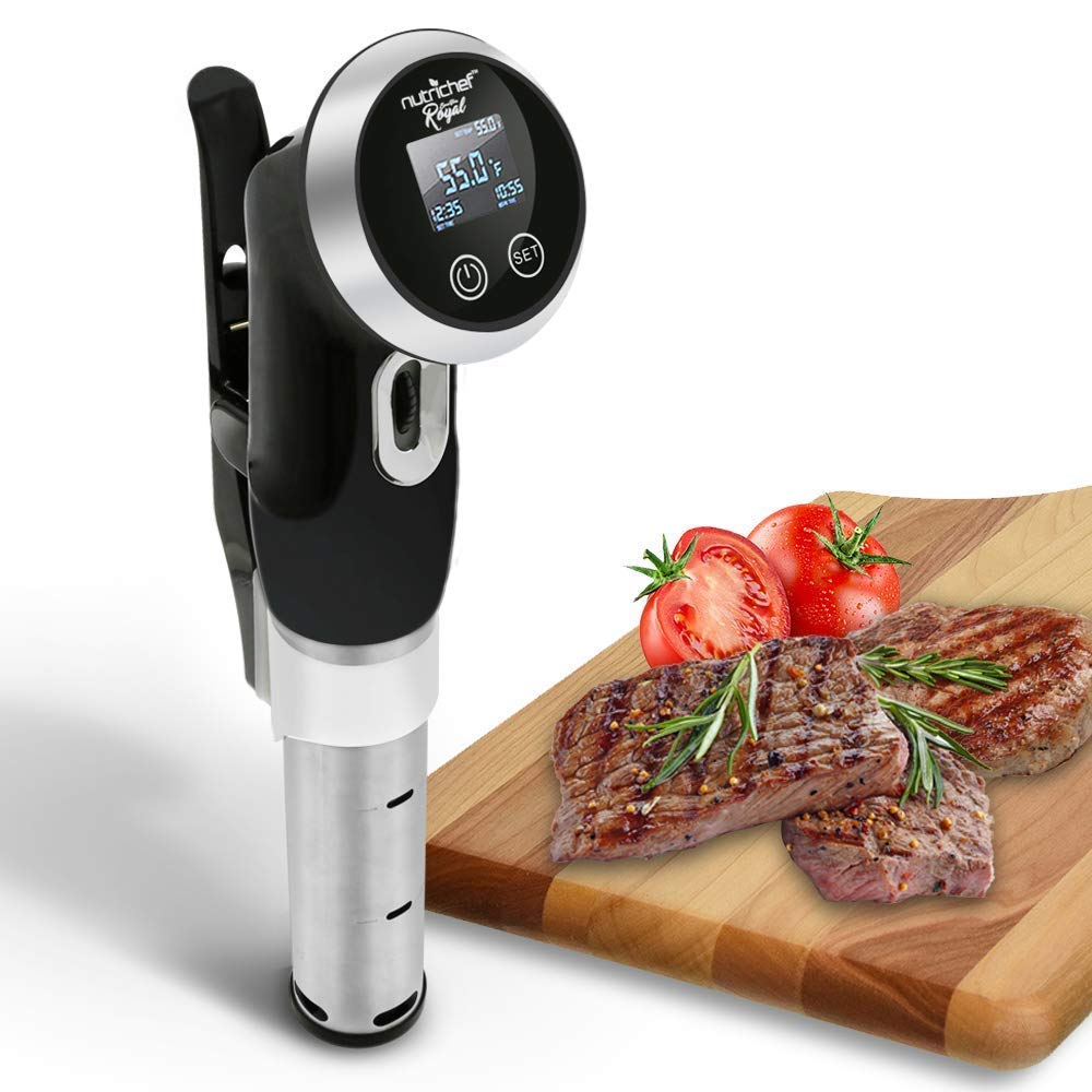 Sous Vide Immersion Circulator Cooker - 1000 Watt Stainless Steel Thermal Cooking Machine  Digital Time / Temperature - Clips On Deep Container - NutriChef