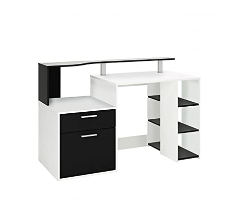 Aprodz Solid Wood Berlin Study Desk Table for Home and Office | Black   White Finish Desks