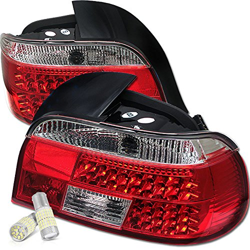 VIPMOTOZ For 1997-2000 BMW E39 5-Series Red Lens Premium LED Tail Light Housing Lamp Assembly - Full SMD LED Reverse Bulbs Included, Driver & Passenger Side Replacement Pair