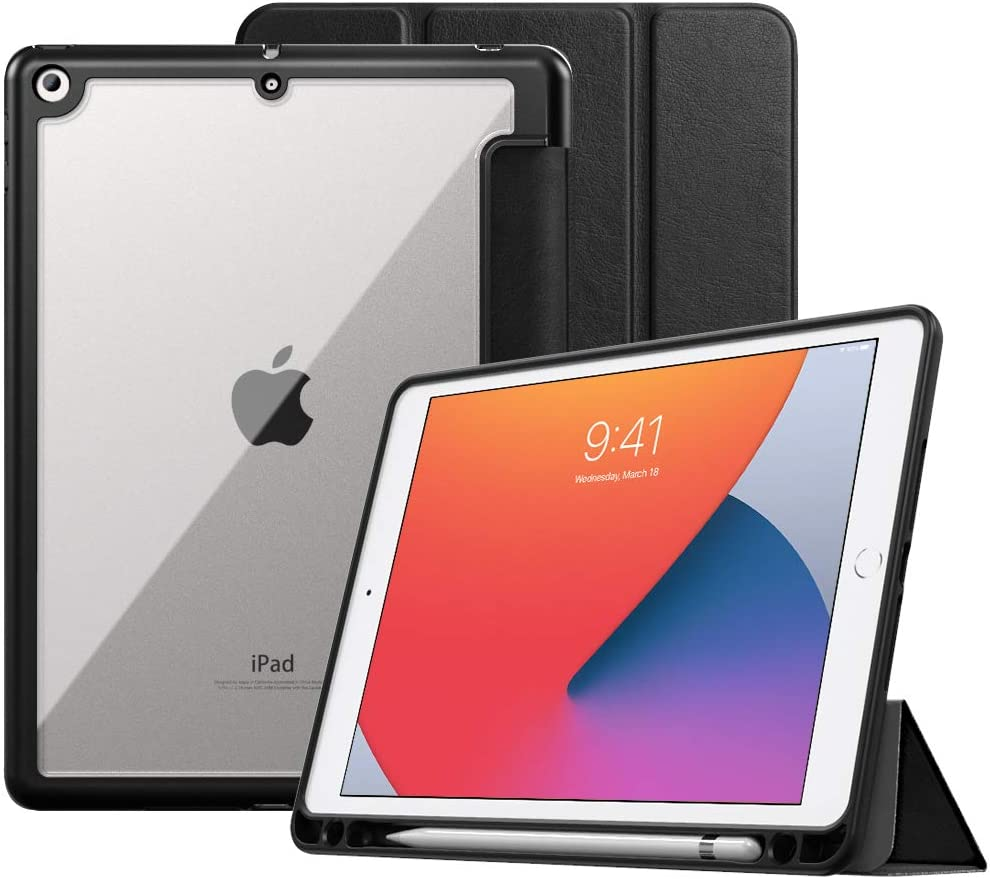 """MoKo Case Fit New iPad 8th Gen & iPad 7th Generation 10.2"""" 2019 / iPad 10.2 Case with Apple Pencil Holder, Smart Shell Cover with Translucent Back Corner/Bumper Protector Case, Auto Wake/Sleep - Black"""
