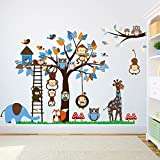 Simoshaw Lovely Animals Owls Monkeys Birds Elephant Giraffe Mushrooms Trees Wall Stickers Removable Wall Decal for Girls and Boys Nursery Baby Room Children's Bedroom