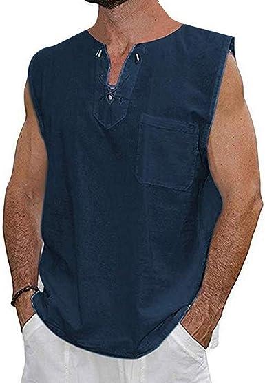 KIMODO Moda para Hombre Blusa Verano Slim Multicolor Cuello Corto Algodón Lino Sólido Sin Mangas Camisa Grueso Medio Deportes de Calle y Estilo Casual Cómodo y liviano: Amazon.es: Ropa y accesorios