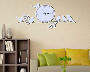 Amazoncom Mirror wall sticker clock Stick clock Home Kitchen