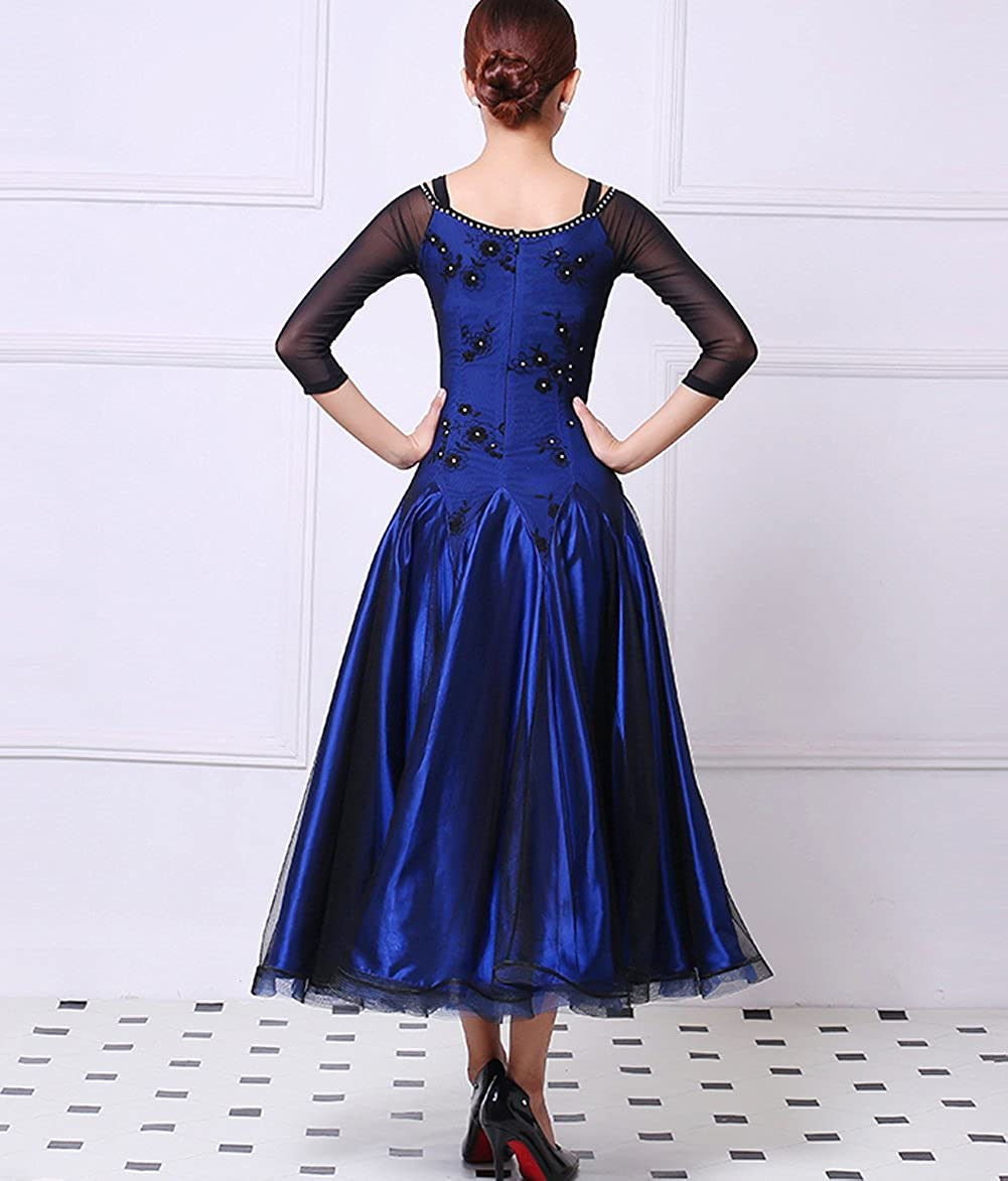 1950s History of Prom, Party, and Formal Dresses YC WELL Ballroom Dance Dress Flamenco Waltz Tango Dance Costumes for Women $99.80 AT vintagedancer.com