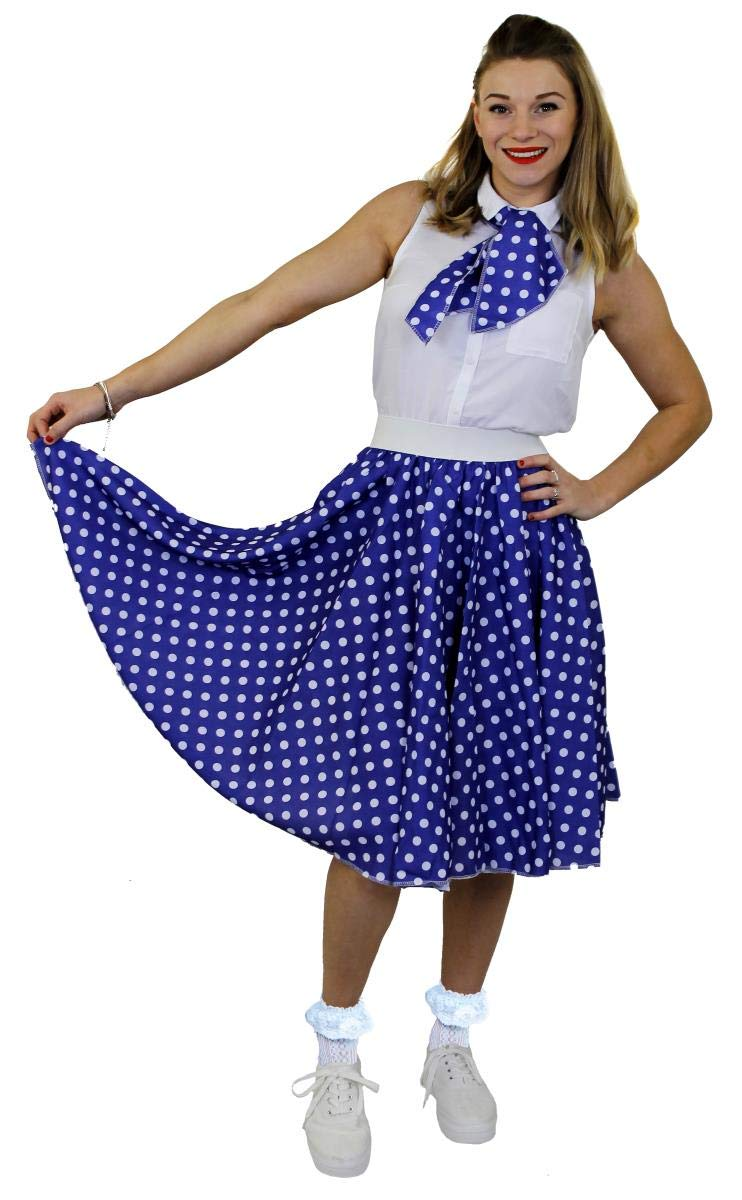 swing sciarpa stile anni 50 Costume da donna a pois gonna lunga 26 cm a pois abito rock and roll