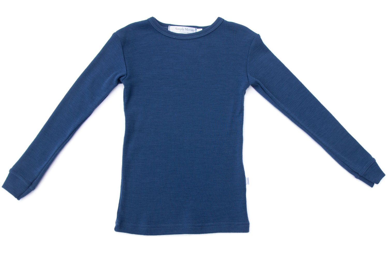 Pure Merino Wool Kids Thermal Top. Base layer Underwear Pajamas. BLUE 9-10 Yrs by Simply Merino (Image #5)