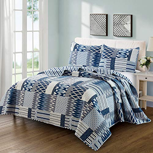 BEJIMD Reversible Microfiber Quilt Set 3-Piece King Size - Printed, Lightweight & Hypoallergenic All-Season Ultrasonic Bedspread Coverlet Set (Included 1 Quilt, 2 Shams), Blue Symphony