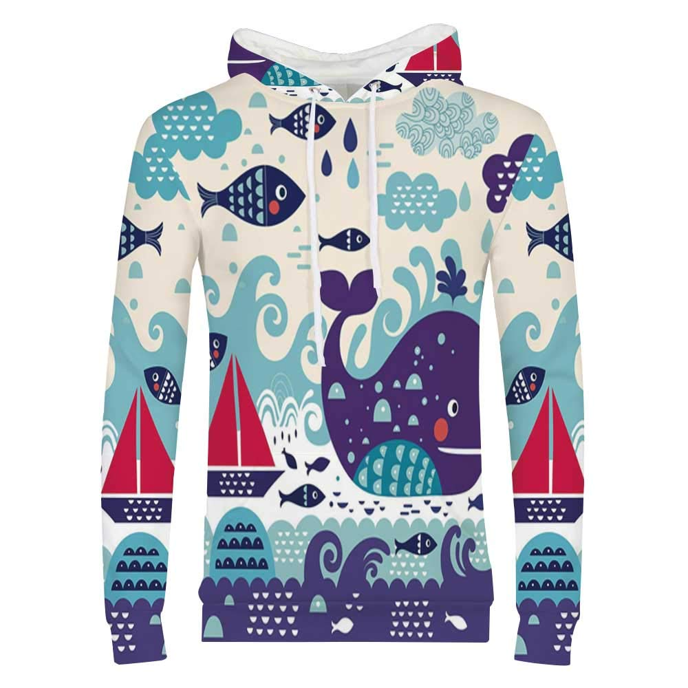 Ocean Stylish Hoodie,Untouched Wild Aquatic World with Corals Exotic Fishes Red Sea Sweaters for Men /& Boys,Small