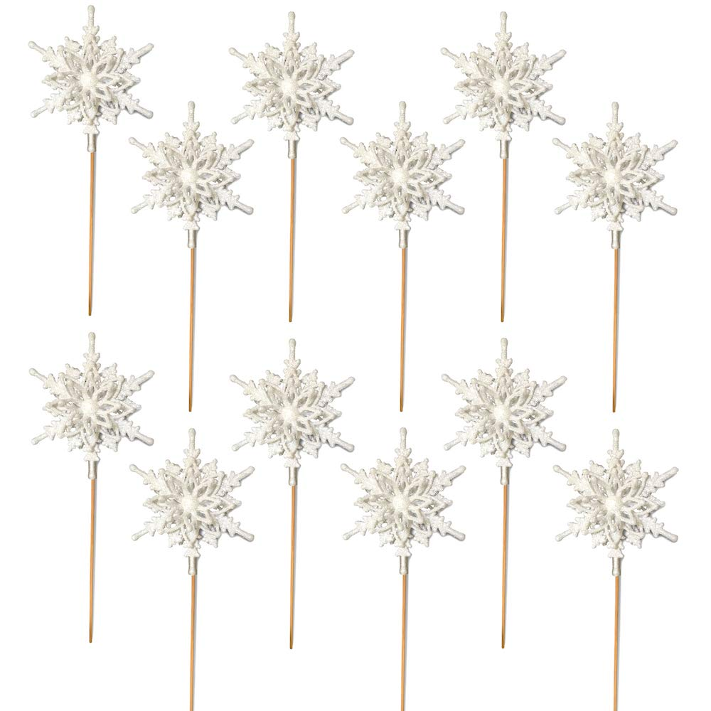 Snowflake Pick - Set of 12 Pcs - Each Snowflake Measures 4 3/8