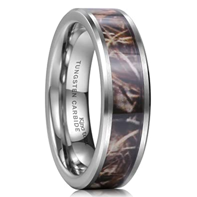 King Will 8mm Camo Trees Leaves Tungsten Carbide Ring Camouflage
