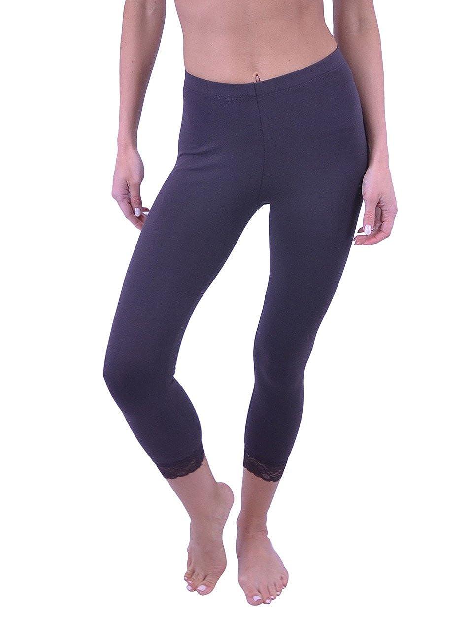 Vivian's Fashions Capri Leggings - Cotton, Lace (Misses and Misses Plus Sizes) VF Manufacturing PP1152L