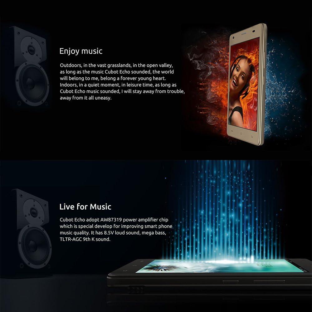 CUBOT Echo 3G Smartphone Libre Android 6.0,2 GB RAM +16 GB Rom,5,0 Pulgadas (12,7 cm) de Pantalla Táctil HD, Batería 3000mAh, Bual SIM, 5MP Frontal de la Cámara / 13MP Cámara),Color Negro: