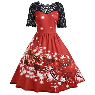 Meishown Christmas Print Lace Vintage Women Retro Rockabilly Swing Dress Party Robe Vestidos 1-Red