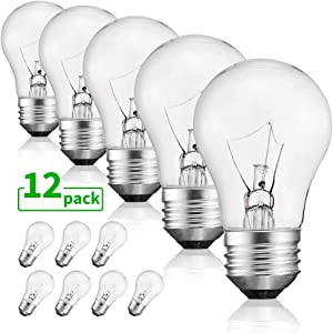 40 Watt Warm White Bulbs Bright and Long Lasting Appliance Light A15 Ceiling Fan Light Bulb Incandescent with E26 E27 Medium Base, 12 Packs