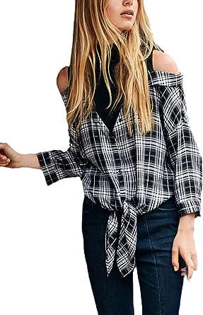 Mujer Camisas Cuadros Tops Primavera Otoño Blusas Cómodo ...