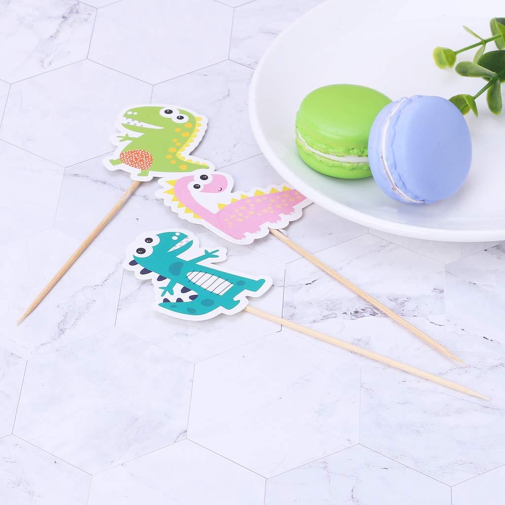 Biniwa - 1 juego de papel de dinosaurio, tarjeta de inserción para cupcakes, para niños, cumpleaños, boda, decoración de pasteles: Amazon.es: Hogar