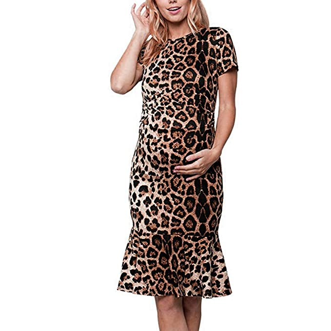 49461427ac120 Women Maternity Dress, Summer Short Sleeve Leopard Print Casual Sundress  Bodycon Dresses (Khaki,