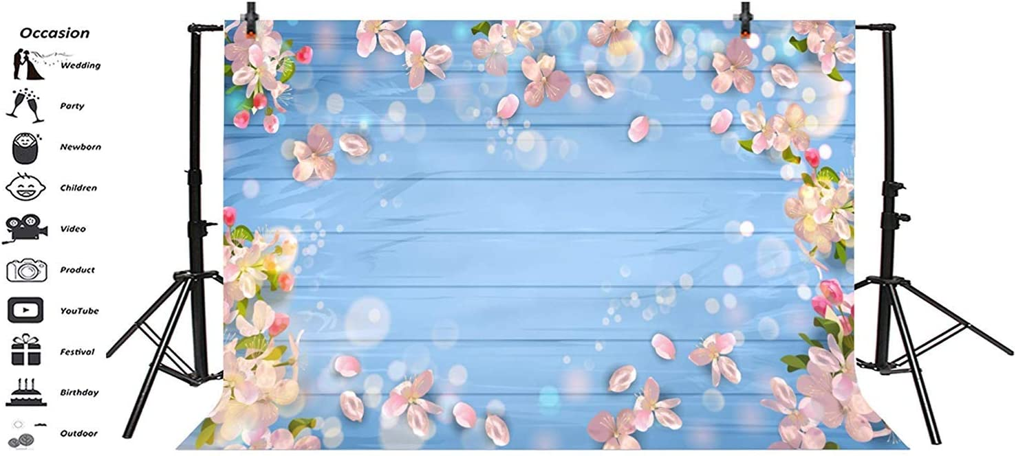 5x3ft Spring Theme Backdrop Polyester Dreamlike Abstract Peach Blossom Petals Frame Light Blue Plank Photography Background Child Kids Baby Shoot Spring Landscape Happy New Year Party Banner