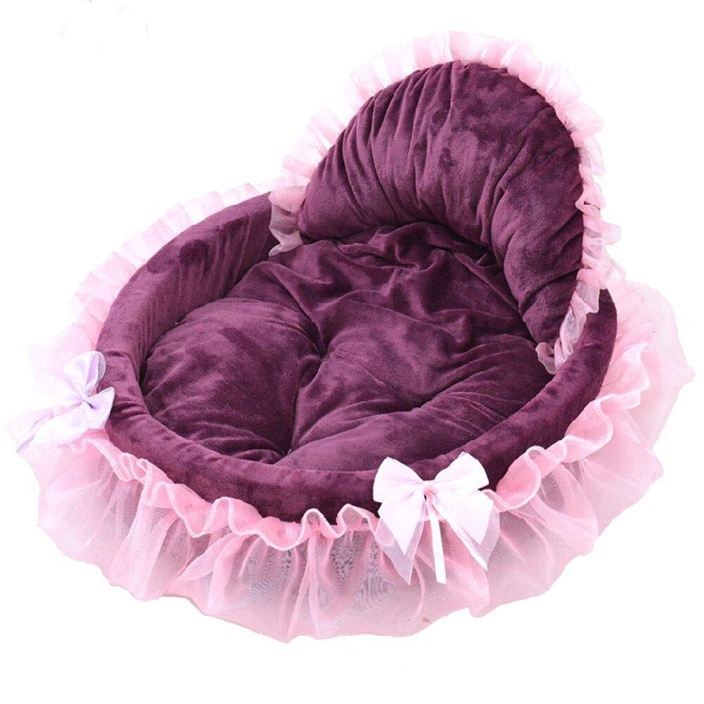 Pet Dog Bed, Orthopedic Round Cuddle Nest, Pet Dog Cat Puppy Princess Bows Lace Heart Elegant Lovely Bed Doghouse Pet Warm Bed(USA) by CGKUITER Pet
