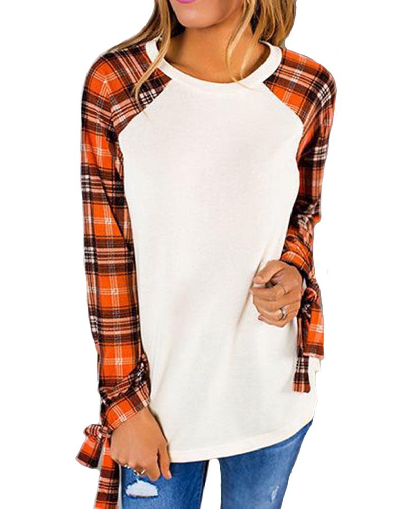 KUFV Women's Plaid Long Sleeve Tops Crew Neck Blouse Tunic T-Shirts