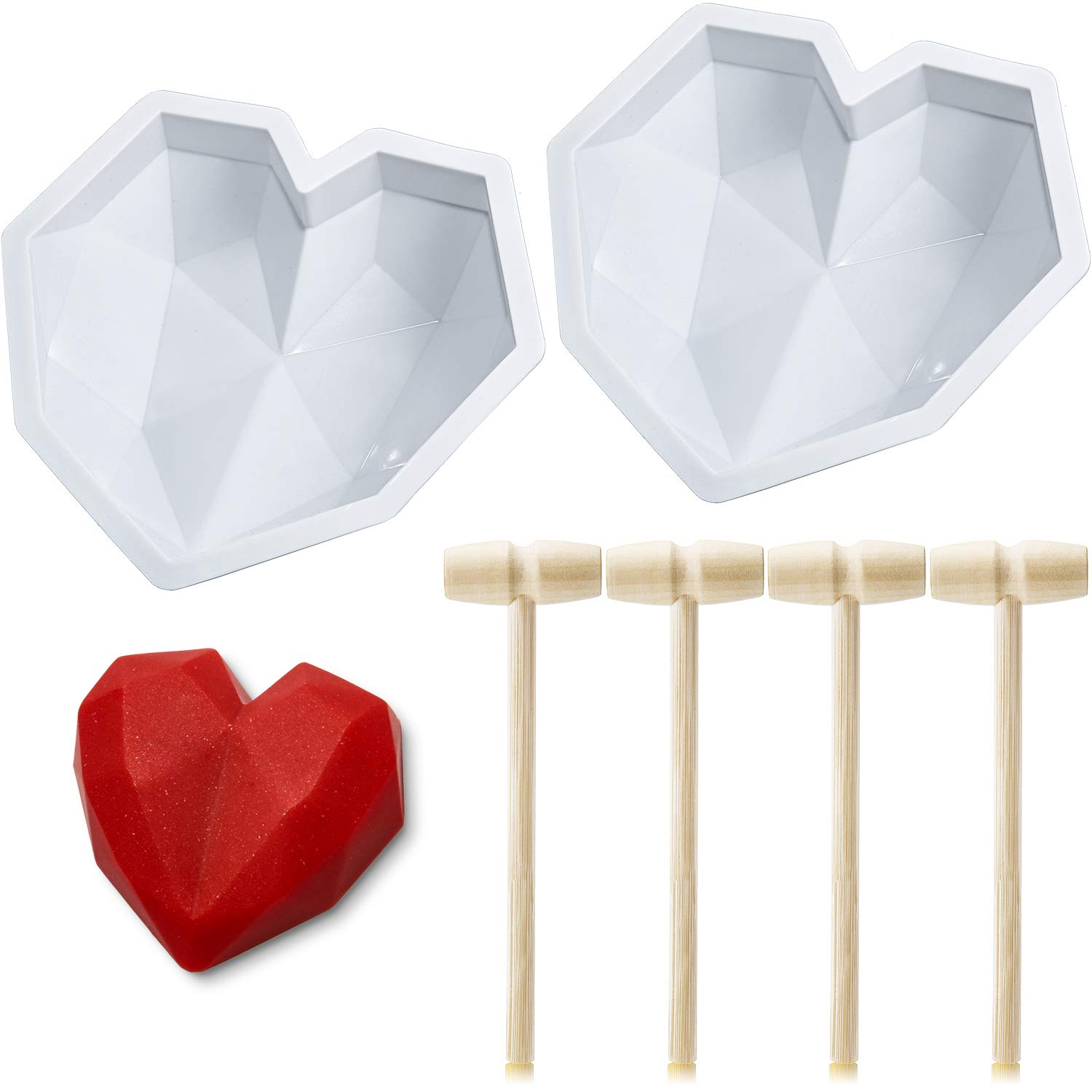 2 Pieces Diamond Heart Mousse Cake Mold Trays 8.7 Inch Silicone Baking Pan Non-Sticky Dessert Mold with 4 Wooden Hammers Mallet Pounding Tools for Baking Chocolate Valentine's Day Cake (White)