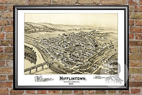Ted's Vintage Art Mifflintown Pennsylvania 1895 Vintage Map Print | Historic Juniata County, PA Art | Digitally Restored On Museum Quality Matte Paper 18