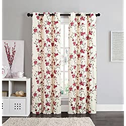 2 Blackout Room Darkening Window Curtains Grommet Panel Pair Drapes Thermal Floral Pink Taupe 84""