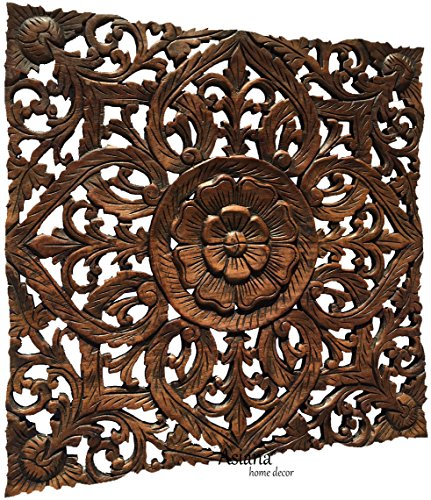 (Oriental Carved Lotus Wood Plaque. Carved Wood Wall Decor. 24