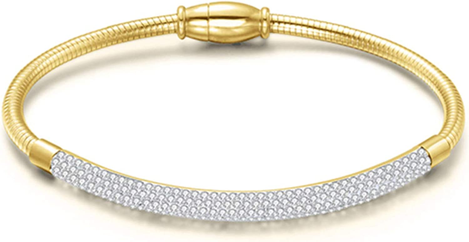 Fashion Crystal Magnetic Bangle for Women Stainless Steel Bracelet Bangles Gold//Rose Gold//Silver Colors Jewellry