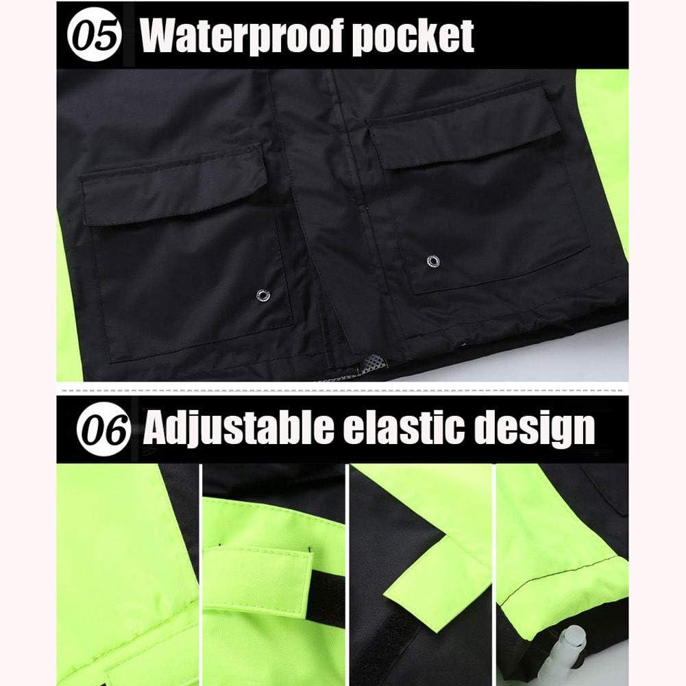 Imperméable Portable avec Poche Et Bande Réfléchissante Veste Coupe-Pluie pour Randonnée Vélo Pêche Voyage(Sac De Rangement Compris) D