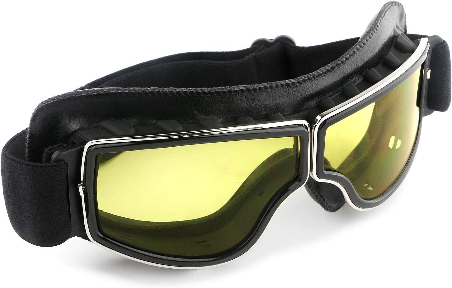 GGBuy Motorcycle Goggles Vintage Anti Fog Pilot PU Leather Glasses Dustproof ATV Off Road Motorbike Helmet Eyewear Protect for Ridding Motorcross Classes Aviator Goggles
