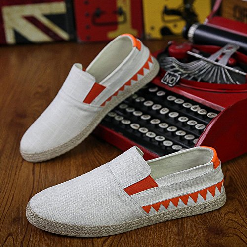 Scurtain Mens Slip on Canvas Driving Shoes Retro Low Casual Fashion Sneakers Loafers Skateboarding Shoes White FMtTPFZd6p