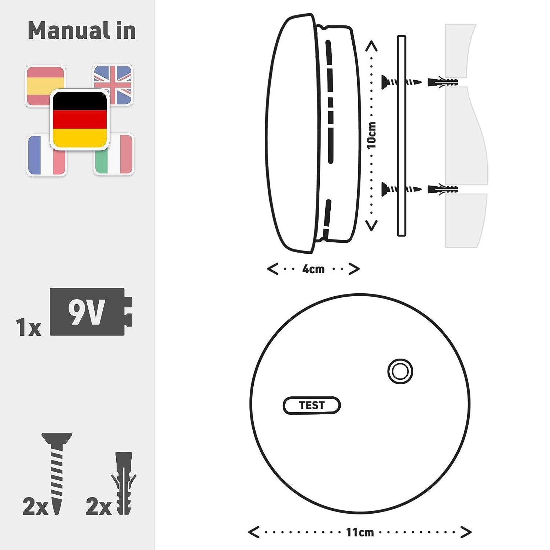 Rauchmelder 2er Set inkl ✔️ 2X 9V Batterie Gepr/üft Nach Din EN14604 und NF Zertifiziert ✔️ 2 St/ück Rauchwarnmelder Feuermelder Brandmelder Feueralarm