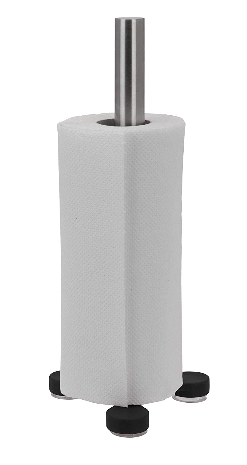 Stainless Steel Kitchen Paper Roll Towel Holder Stand Rack with Suction Cup Base