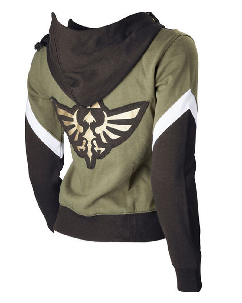 Ya-cos The Legend of Zelda Link Hooded Hyrule Warriors Zipper Coat Jacket Green (Green, Small)