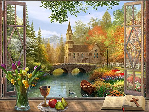 Vermont Christmas Company Autumn Church Jigsaw Puzzle 550 Piece