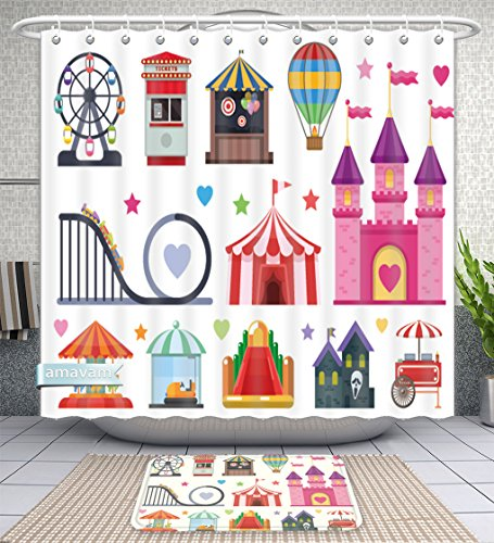 - Amavam Bathroom 2-Piece Suit Amusement Park Colorful Objects Set With Extreme And Inflatable Attractions Circus Tent Street Food Shower Curtains And Bath Mats Set, 66