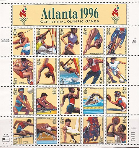 - Atlanta Summer Olympics Games Sheet of Twenty 32 Cent Stamps Scott 3068 By USPS
