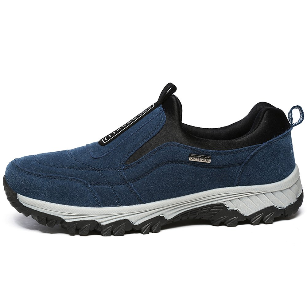f42c5558bad5dc VILOCY Men's Suede Leather Hiking Trekking Shoes Slip on Outdoor Sports  Camping Sneaker Casual Walking Loafers Shoe Navy 45: Amazon.co.uk: Shoes &  Bags