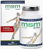 MSM Soufre Organique - Poudre MSM pur - 365 capsules à fortes doses: 99,9% pure MSM (méthyl-sulfonyl-méthane) - 1400 mg de poudre MSM purement + 80 mg Vitamine C par dose quotidienne - 5-6 mois MSM cure - Qualité Supérieure