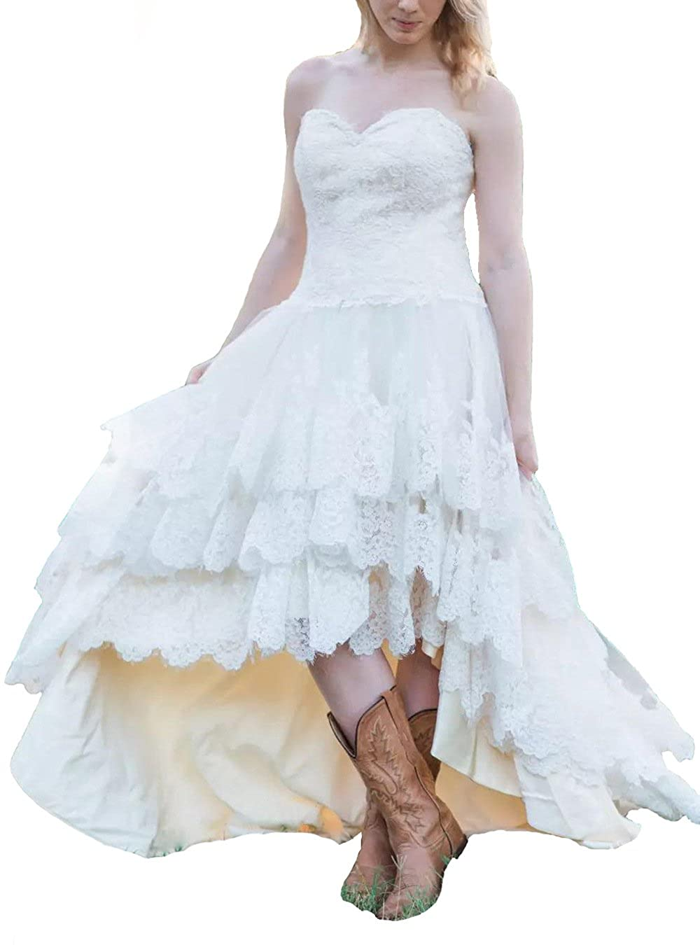 Gmar High Low Country Style Wedding Dresses For Bride A Line Lace