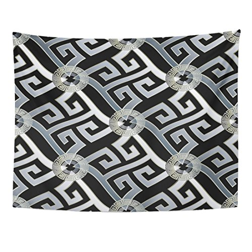 Breezat Tapestry Modern Geometric Black with White 3D Wavy Greek Key Circles Geometrical Shapes Figures and Vintage Home Decor Wall Hanging for Living Room Bedroom Dorm 60x80 Inches