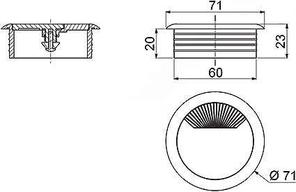 So-Tech/® Grommet /Ø 80/mm en plastique blanc