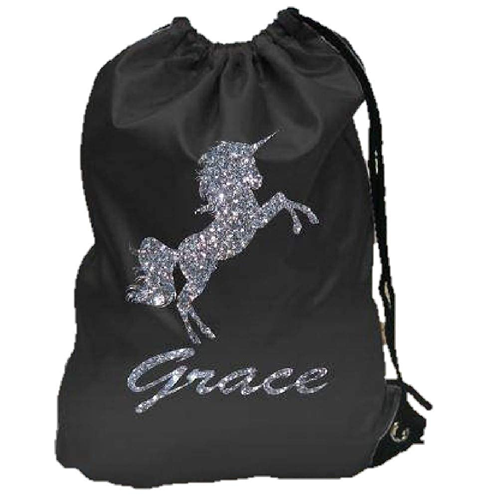 Personalised gym bag your name Glitter unicorn design pe school bag new customised kids